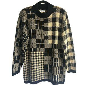 Alfred Dunner Vintage Black & Tan Plaid Sweater 2X